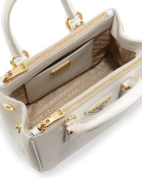 cheap replica prada bags - Prada Saffiano Mini Galleria Crossbody Bag, White (Talco)
