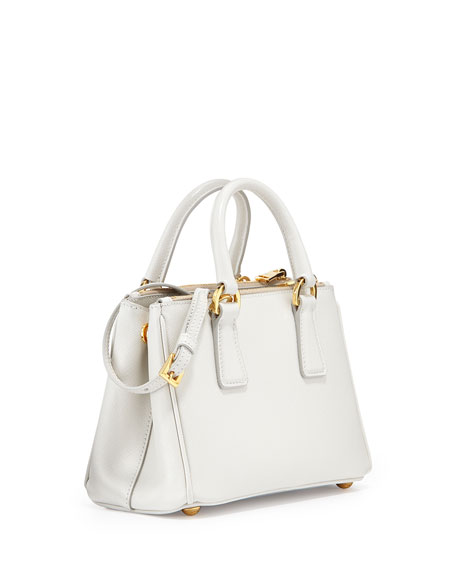 Saffiano Mini Galleria Crossbody Bag, White (Talco)