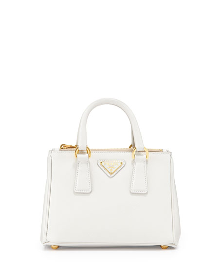 Prada Saffiano Mini Galleria Crossbody Bag, White (Talco)