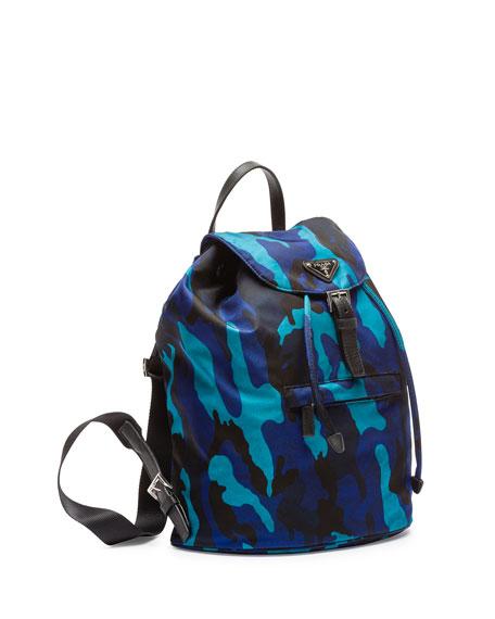 8cb70a8505be Prada Tessuto Camouflage Backpack, Blue (Royal)