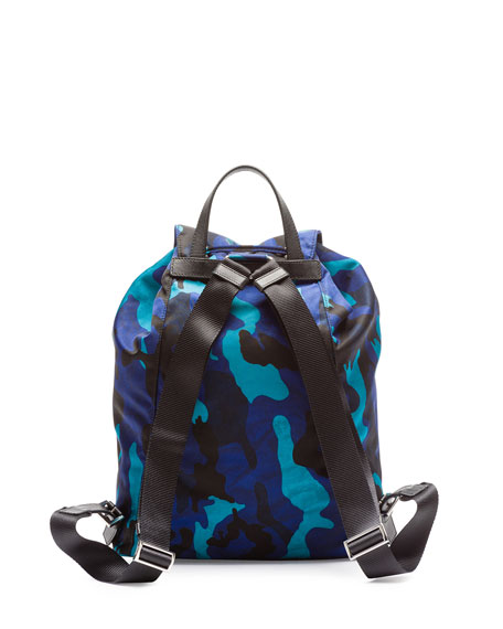 bda2c22a9f17d3 Prada Tessuto Camouflage Backpack, Blue (Royal)
