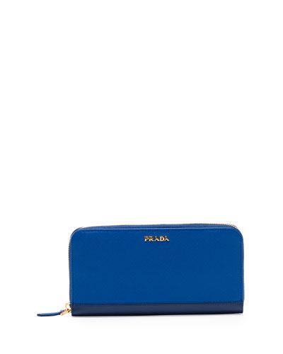 Saffiano Double Bicolor Wallet, Cobalt Blue/Dark Blue (Azzurro+Bluette)