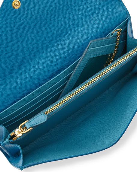 Saffiano Bicolor Letter Wallet, Turquoise/Blue (Celeste/Voyage)