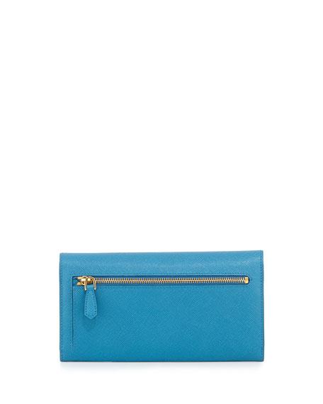 6d1a140fed37 Prada Saffiano Bicolor Letter Wallet, Turquoise/Blue (Celeste/Voyage)