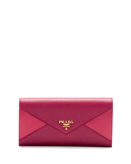 72d558bc9842 Prada Saffiano Bicolor Envelope Wallet, Pink/Dark Pink (Peonia+Bisco)