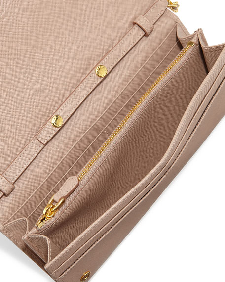Prada Saffiano Wallet on Chain, Blush (Cammeo)