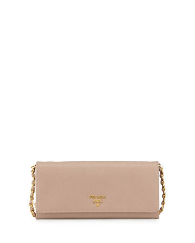 Prada Saffiano Wallet on Chain, Blush (Cammeo)