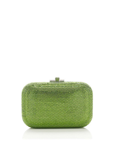 Crystal Slide-Lock Clutch Bag, Fern Green