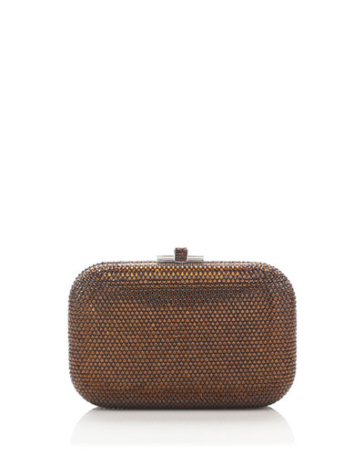 Crystal Slide-Lock Clutch Bag, Mocha