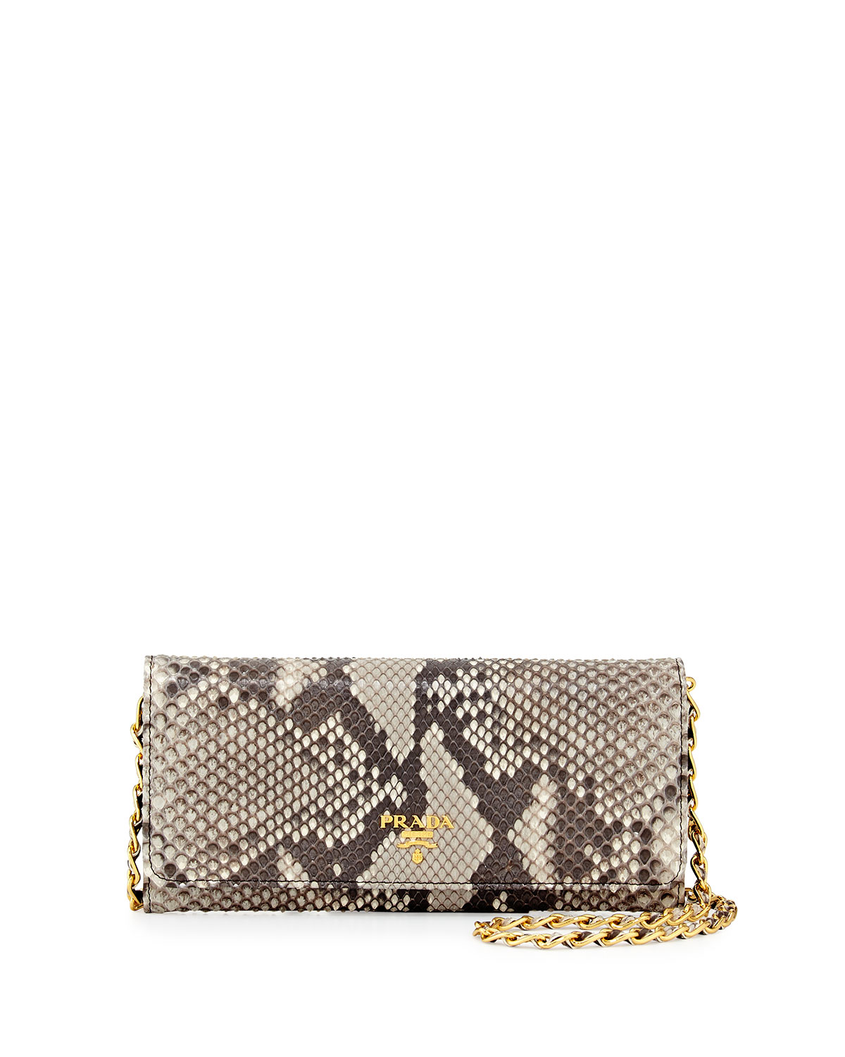 3af3a833b785 Prada Python Wallet on a Chain, Natural (Roccia) | Neiman Marcus