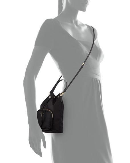 Prada Tessuto Mini Bucket Crossbody Bag, Black (Nero)