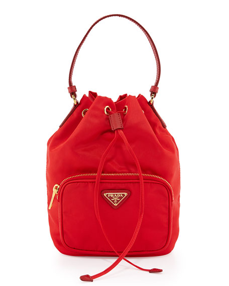 PradaTessuto Mini Bucket Crossbody Bag, Red (Rosso)