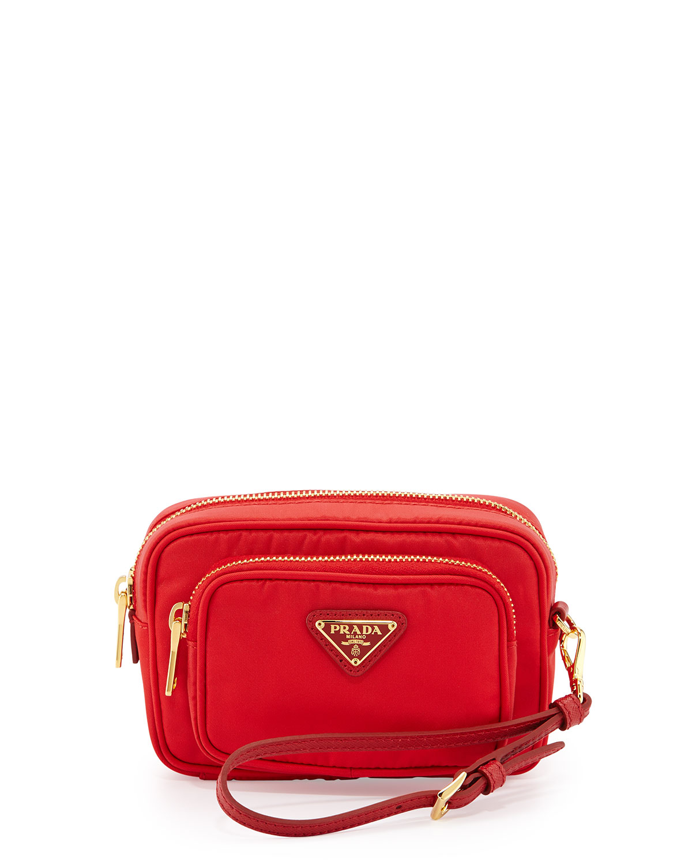 484dd950842f Prada Tessuto Small Pocket Crossbody Bag, Red (Rosso) | Neiman Marcus