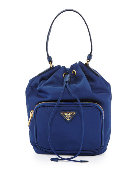 Prada Tessuto Mini Bucket Crossbody Bag, Royal Blue (Royal)