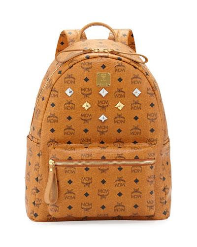MCM Sprinkle Logo-Print Backpack, Cognac