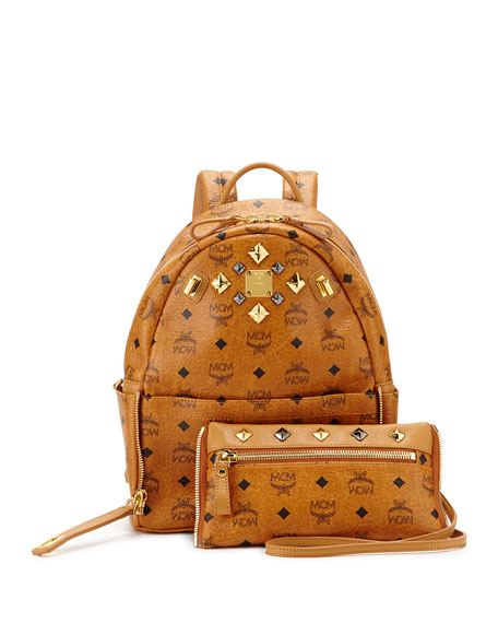 MCM Dual Stark Small Backpack, Cognac