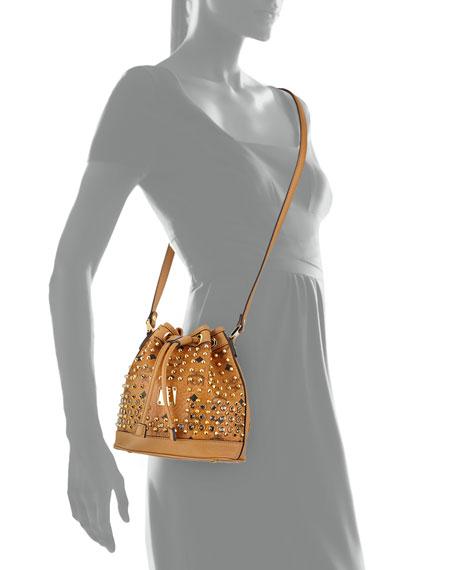 Diamond Visetos Drawstrings Mini Bag, Cognac