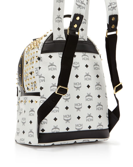 Diamond Visetos Small Backpack, White