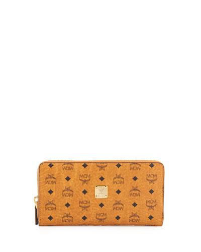 Visetos Coated Canvas Zip Wallet, Cognac