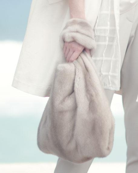 Mink Fur Satchel with Pull-Through Straps, Brown