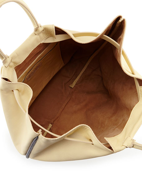 Monili Chain-Trim Tote/Backpack, Cream