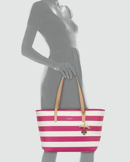 hawthorne lane ryan striped tote bag, sweetheart pink/cream