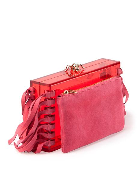 Fringe Pandora Clutch Bag, Pink