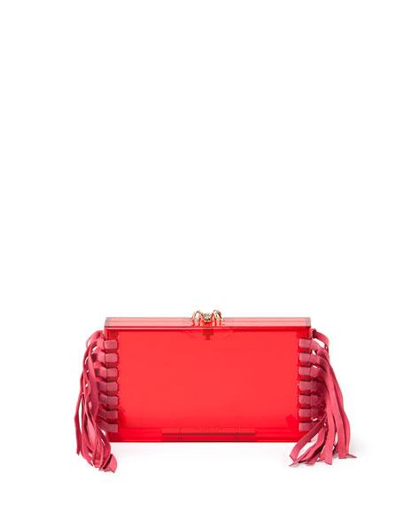 Charlotte OlympiaFringe Pandora Clutch Bag, Pink