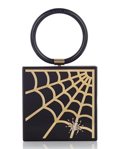 Charlotte Olympia Spider Web Acrylic Clutch Bag, Black/Gold