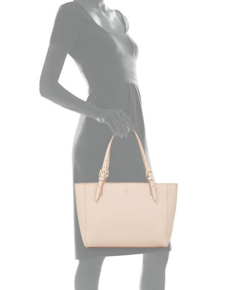 York Small Saffiano Leather Tote Bag, Light Oak