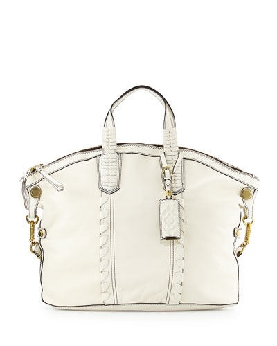 Cassie Convertible Leather Tote Bag, Ivory