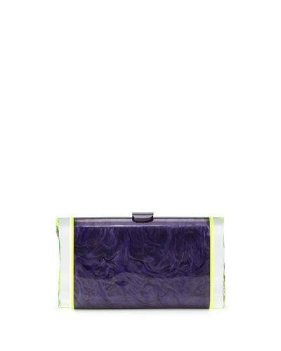 Lara Backlit Acrylic Ice Clutch Bag, Amethyst/Green