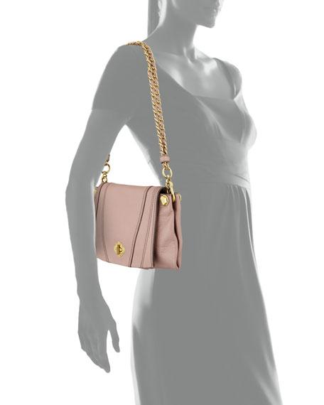 Leah Flap Leather Crossbody Bag, Mushroom