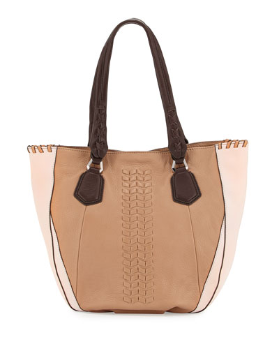 Lyssie Colorblock Whipstitched Tote Bag, Nude/Multi