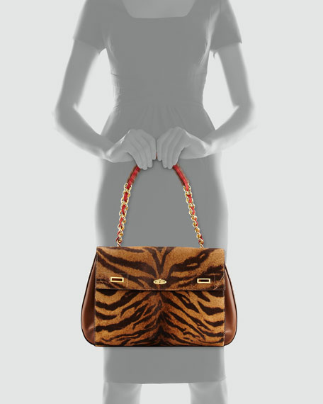 Id Tiger-Print Calf Hair Shoulder Bag