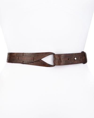 Loop-Close Textured Leather Belt, Espresso