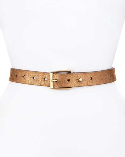 Lame Leather Belt, Gold