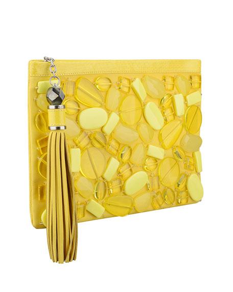 Celia Large Beaded Clutch Bag, Lemon Drops