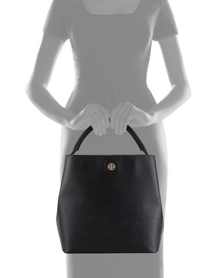 Robinson Saffiano Bucket Tote Bag, Black