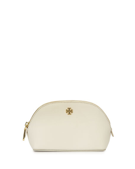 York Small Leather Makeup Bag, New Ivory