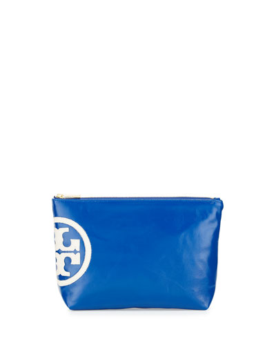 Dipped Beach Large Slouchy Cosmetics Case, Jelly Blue
