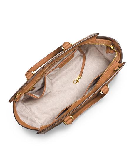 Selma Large Saffiano Satchel Bag, Peanut