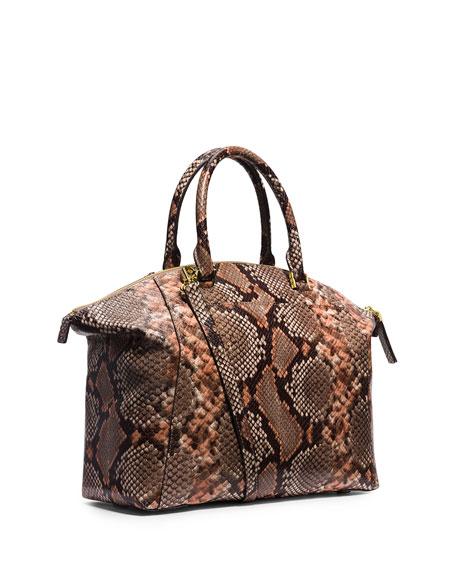 Riley Large Python Print Satchel Bag Peanut