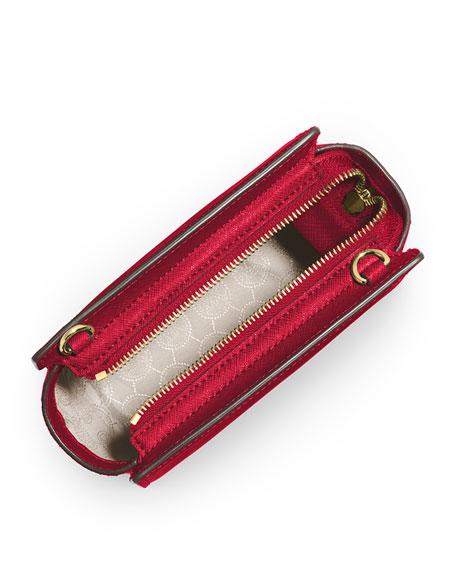 Selma Mini Saffiano Messenger Bag, Chili