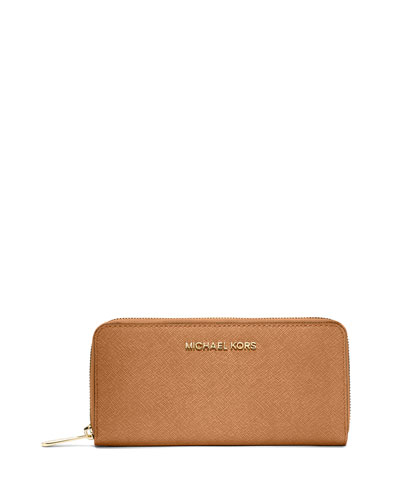 Jet Set Zip-Around Continental Travel Wallet, Peanut