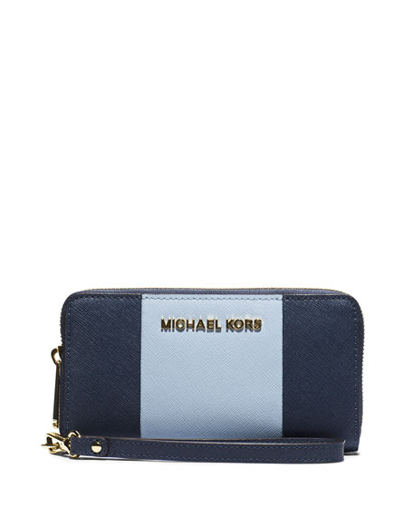 8a122d84b1a9 MICHAEL Michael Kors Jet Set Large Travel Center-Stripe Wristlet Wallet,  Navy/Pale Blue