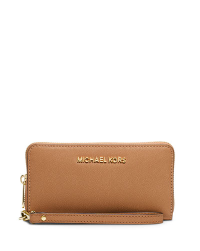 Jet Set Travel Saffiano Wristlet Wallet, Peanut