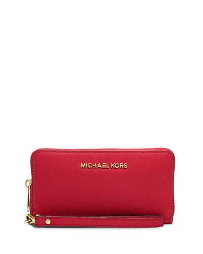 2471048e3fb9 MICHAEL Michael Kors Jet Set Travel Saffiano Wristlet Wallet, Chili ...