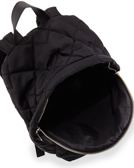 Crosby Quilted Nylon Backpack, Black