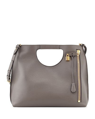 Alix Padlock & Zip Shoulder Tote Bag, Graphite